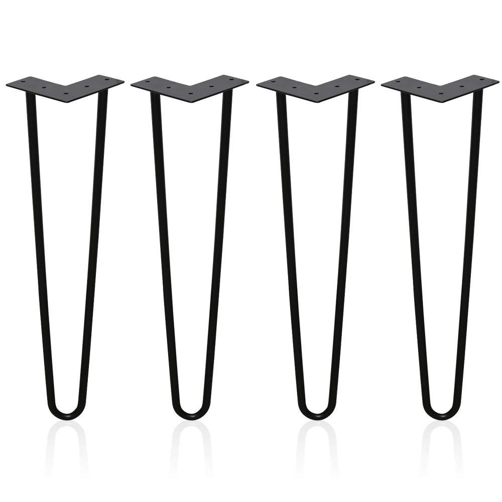 4er Hairpin Legs Schreibtisch Tischbeine Austauschbare Haarnadelbeine Tischgestell 20cm mit Doppelstab Bodenschoner und Schrauben Verfü gbar in Hö he von 15cm-72cm WIS