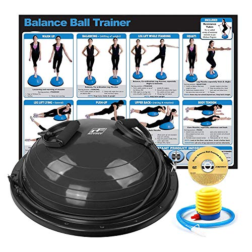 DEVEBOR Half Ball Sport Balance Trainer(2nd Generation) with Resistance Bands /& Pump Grind Arenaceous and Slip Resistant Yoga Fitness Home Exercise Training