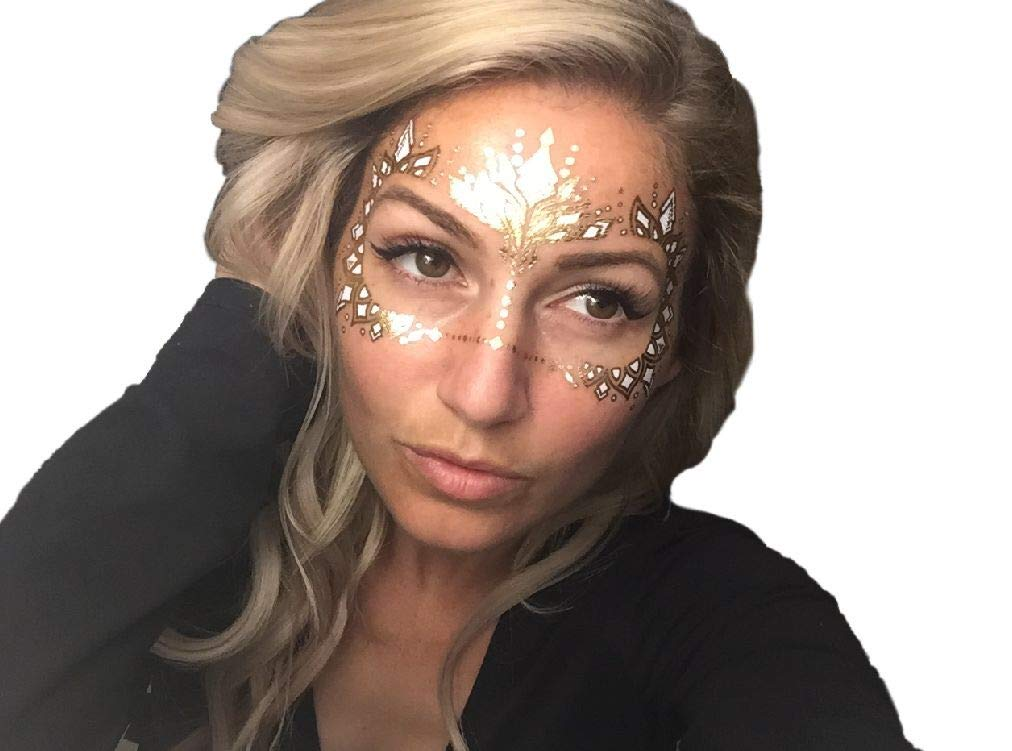 6 pages Burning Man, Gold Temporary Tattoos by Golden Ratio Tats, Masquerade Face Tattoo