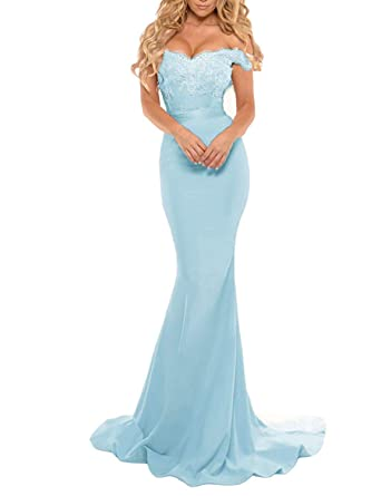 e0855a44d1f Miao Duo Women s Long Mermaid Off Shoulder Celebrity Backlesses Lace Formal  Prom Gowns Aqua Blue 2