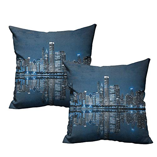(RuppertTextile Customized Pillowcase Chicago Skyline Sleeping City Dramatic Urban Resting Popular American Lake Picture Machine Washable W14 xL14 2 pcs)