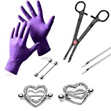 LionGothic Professional Nipple Ring Piercing Kit with 2 Heart Nipple Shields Gloves,Needles,Tool