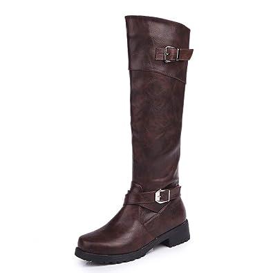 Anokar Bottes Femme Cuir Hiver Knee Boots Equitation Boots Femme Biker  Bottes Hautes Longue Fermeture Eclair Boucle Chaussures Party Noir Vert  Marron 35-43  ... f89bed80aad5
