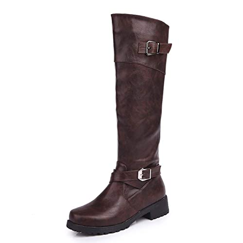 dff38476502 Botas para Mujer De Cuero Planos Largo Botas Altas Las Rodillas Alto Otoño  Cremallera Zapatos De Mujer Moda Cómodos Negras Verde Marrón 35-43   Amazon.es  ...