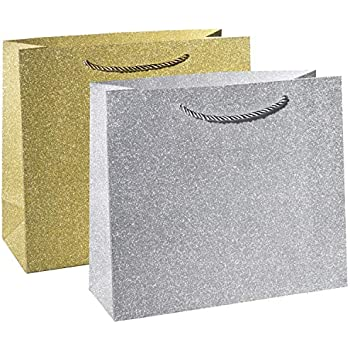 0ab114b03e34c Haute Soiree - 4 Pack - Large Sized Luxurious High Quality Gift Bag Set  with Rope Handles - Includes 2 Gold and 2 Silver Shimmering Sparkle Designs  ...