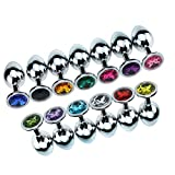 1 Pcs Medium Size Metal Anal Plug Crystal Stainless Steel Anal Sex Toys Booty Beads Jewelled Butt Plug Products for Men Women Deep Green