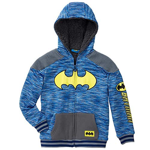 DC Comics Batman Little Boys Sherpa Fleece Zip Up Hoodie (6)    (Dc Lined Sweatshirt)