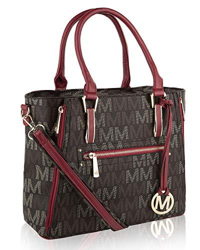 MKF Crossbody Shoulder Handbag for Women Removable Shoulder Strap Vegan Leather Top-Handle Satchel-Tote Bag Red