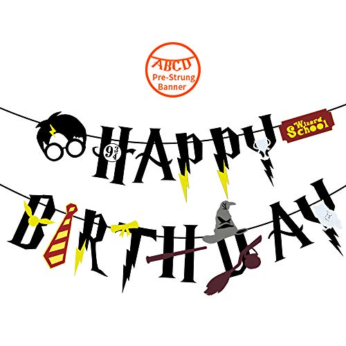 YoHold Wizard Happy Birthday Felt Banner for Wizard, Halloween Birthday Party Supplies Decorations, Black -