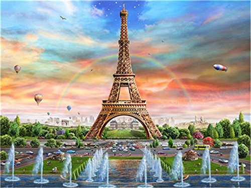 Diy Oil Paint by Number Kit for Adults Beginner 16x20 inch - Rainbow Eiffel Tower, Drawing with Brushes Christmas Decor Decorations Gifts (Without Frame)