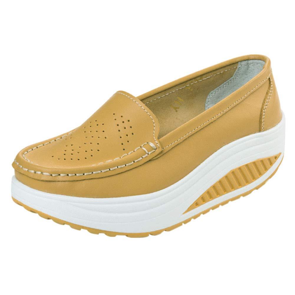 e119cf978506d Huatime Femme Mocassins Chaussures - Plateforme Slip-on Baskets Cuir Casual Sports  Compensées Confort Marche Chaussures à Bascule