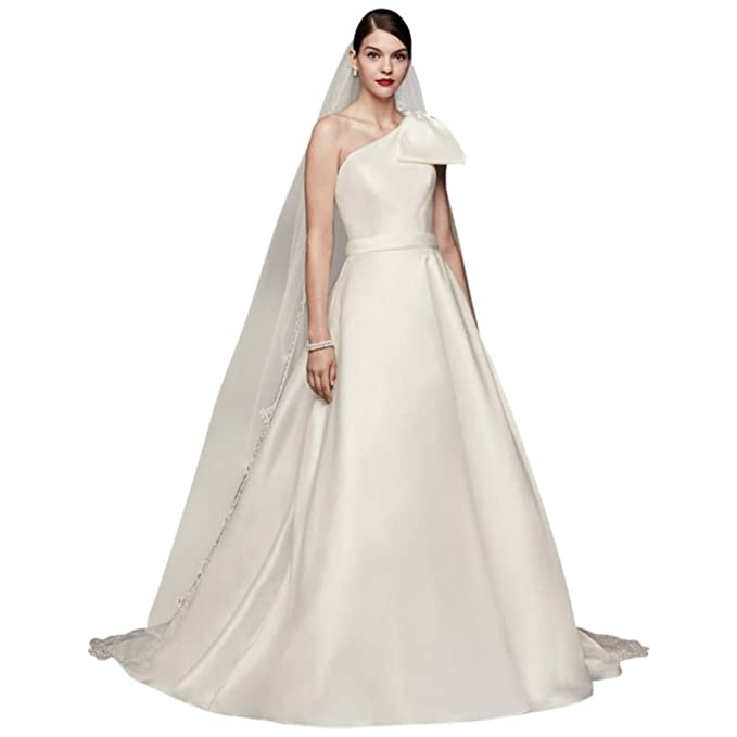 e641e5045 David's Bridal Oleg Cassini Bow-Shoulder Mikado Wedding Dress Style CWG793,  Ivory, ...