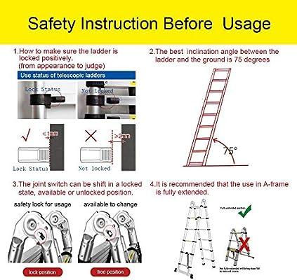 Coocheer - Escalera telescópica plegable 5 m, 2 en 1, escalera plegable Ladder (2,5 m + 2,5 m), certificado EN131, carga máxima 150 kg: Amazon.es: Bricolaje y herramientas