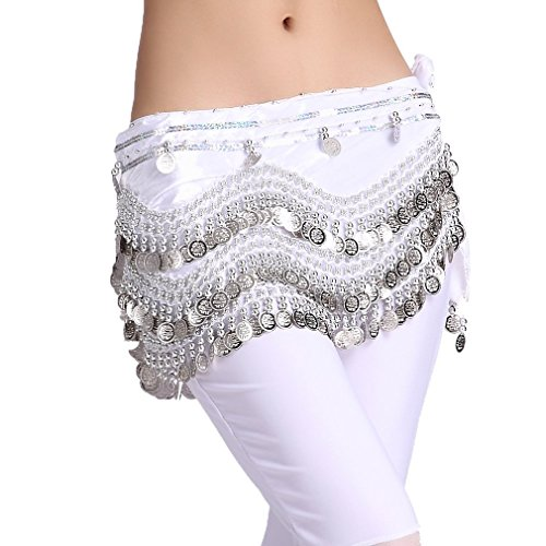 ZLTdream Women's Belly Dance Wave Shape Hip Scarf With Silver Coins (White Coin Shape)