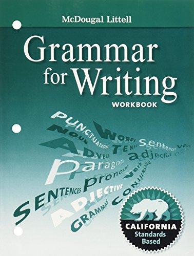 McDougal Littell Literature: Grammar for Writing Workbook ...