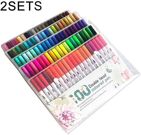 2セットの100色ダブルヘッドのフックラインのペンのカラーマーカーソフトヘッド水彩ペンアートセットペイント子供ギフト用品
