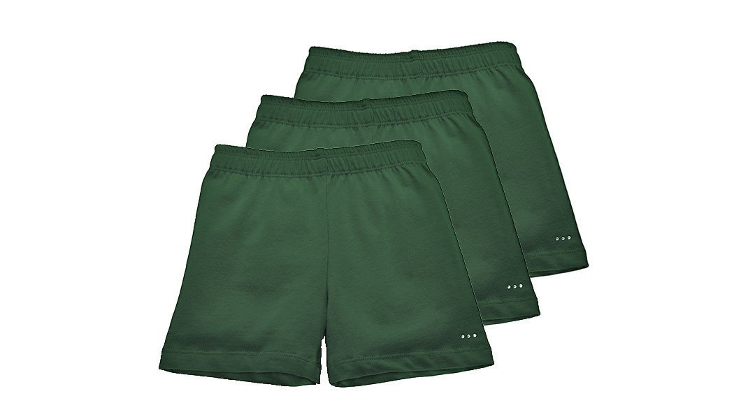 Sparkle Farms Girls Under School Uniform Shorts, 3-Pack, All Hunter Green, Size 7