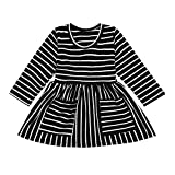 Anglewolf Cute Toddler Infant Newborn Baby Girl Girls Stripe Pockets Princess Dresses Clothes Outfits Long Sleeve Cartoon Print O-Neck Mini Dress(Black,18-24Months)