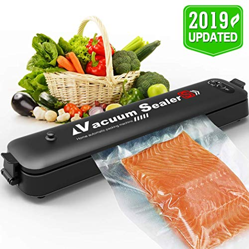 Vacuum Sealer, Portable Automatic Food Sealer Vacuuming Devices for Food Preservation, 2 Functions/LED Indicators / 15 Bags Supplied 20x25cm – Black