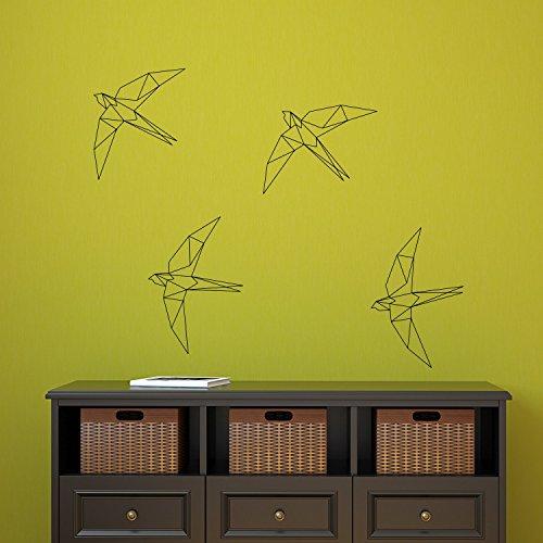 (Set of 4 Vinyl Wall Art Decal - Geometric Bird - 9.48