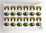 Ambesonne Jamaican Pillow Sham, Collection of Reggae Icons Colorful Peace Symbols Abstract Americas Composition, Decorative Standard Queen Size Printed Pillowcase, 30 X 20 inches, Multicolor