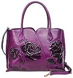 PIJUSHI Genuine Leather Top Handle Bags Floral Satchel Handbag Shoulder Purses 6913(Violet)
