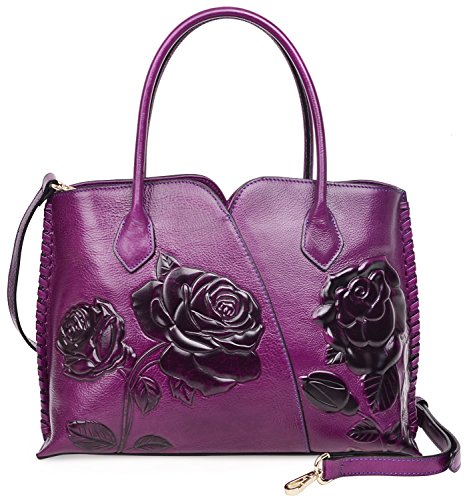 PIJUSHI Genuine Leather Top Handle Bags Floral Satchel Handbag Shoulder Purses 6913(Violet) (Leather Purse Purple Rose)
