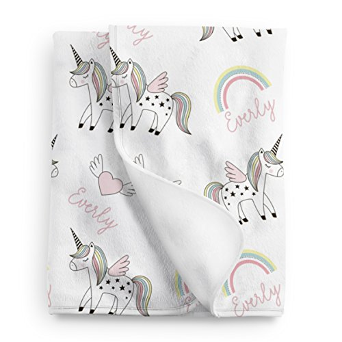 Personalized Unicorn Rainbow Fleece Baby Blanket, Unicorn nursery décor -