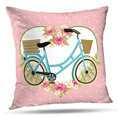 Lshtar Throw Pillow Covers, Vintage Bike Basket Flowers Heart Decoration Bicycle Art Beautiful for Sofa Cushion CoverShort Plush Design Decoration Home Bed Pillowcase 18x18 inch