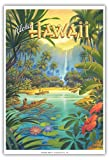 Pacifica Island Art Aloha Hawaii - Vintage Style Hawaiian Travel Poster by Kerne Erickson - Master Art Print - 13 x 19in