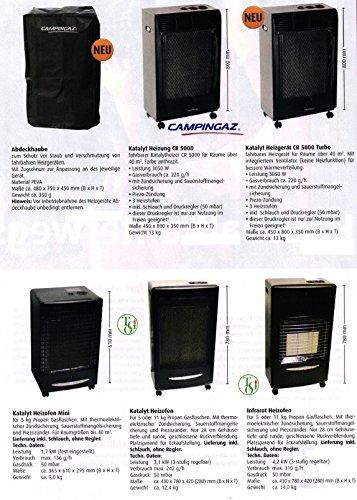Campingaz CR 5000 - Estufa catalítica, 3050 W, 3 niveles de calor, para habitaciones de hasta 40 m², incluye tubo y regulador de presión de 50 mbar: ...