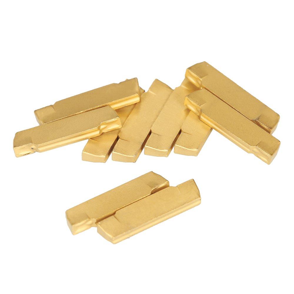 KKmoon 10 unids / caja MGMN200-G 2 mm de ancho inserciones de carburo para MGEHR / MGIVR torno herramienta de corte por ranurado