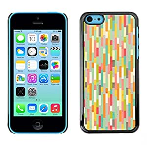 Cubierta de la caja de protección la piel dura para el Apple iPhone 5C - teal pink pastel warm colors stripes