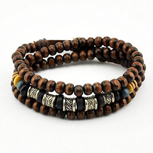 November's Chopin (TM) Tribal Art Metal Tube Wood Beads Adjustable Fashion Multi Wrap Bracelet Necklace (Magnetic Wrap Bracelet Choker)