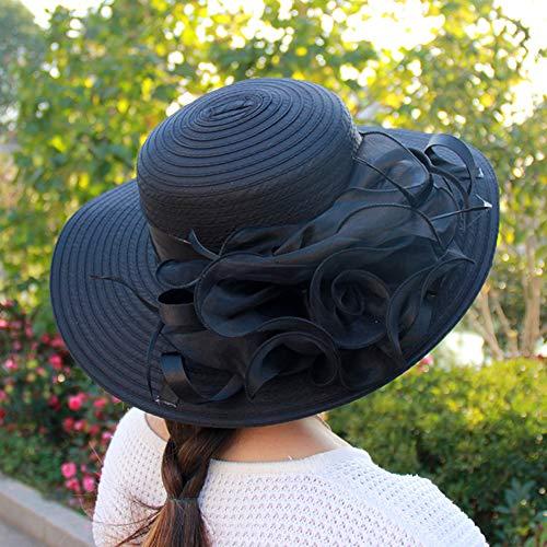 lightclub Fashion Women's Organza Floral Wide Brim Kentucky Derby Church Dress Sun Hat (Dresses Hat Colour)