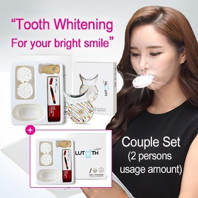 Lutooth Teeth Whitening Kit (Couple Set) - FDA approved - Professional whitening effects - Patented high performance photo-catalysts - 5X better whitening - 15% Carbamide Peroxide