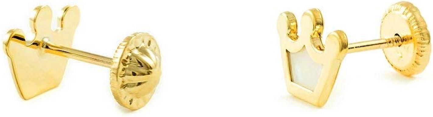 9kts Pendientes Oro Ni/ña Corona Nacar