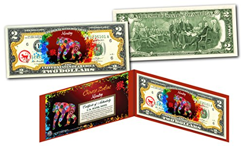 YEAR of the MONKEY - Chinese Zodiac Official $2 U.S. Bill RED POLYCHROME Edition for $<!--$13.95-->