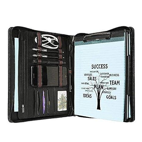 Piel de Cabra cartera portadocumentos de piel auténtica maletín organizador de oficina con panel central plegable hecho a mano Pad Folio Profesional ...