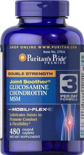 Пуританской Гордость удвоенной силой Глюкозамин, хондроитин и MSM Совместное соска-480 Caplets
