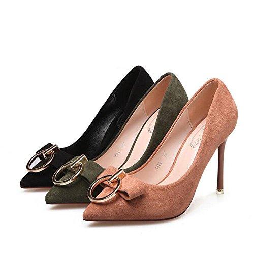 Hauts En avec De Fine Boucle La De De Chaussures Femme green à Danse Et Pointue MéTal Talons Chaussures à Bureau Boucle Bouche qztOPE