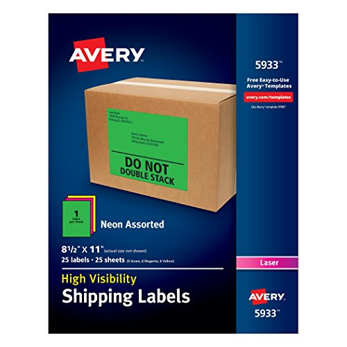 Avery High-Visibility Neon Shipping Labels for Laser Printers Assorted Colors, 8-1/2