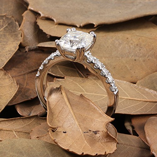 DOVEGGS 2.35CTW 2.2MM Width 7X8MM H-I color Cushion cut Moissanite Engagement Ring Solitare with Accents Platinum Plated Silver