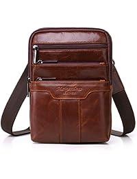 Men's Genuine Leather Cowhide Vintage Messenger Bag Shoulder Bag Crossbody Bag