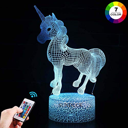 Unicorn Night Light for Kids, Unicorn Lamp Optical Illusion 7 Colors Touch Table Desk Visual Lamp with Remote Control Lamp for Gifts Toys for Children Kids (Unicorn-1)