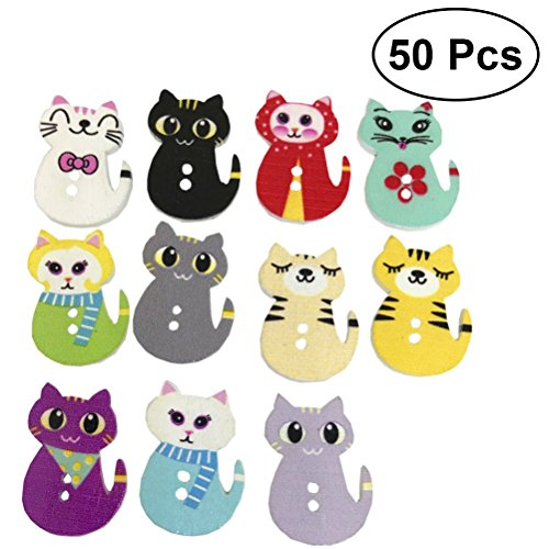 Healifty 50PCS Wooden Lovely Cat Pattern Printed Wooden Buttons DIY Sewing Snaps (Assorted Color) ()