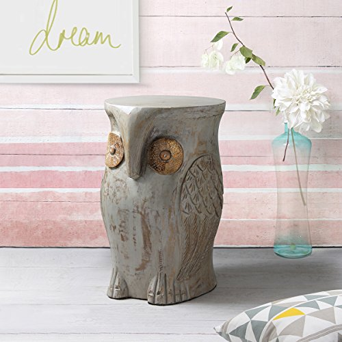Wooden Sitting Stool Hand Carved with Rustic Finish Sturdy Lightweight Owl Shaped Home Kids Room Nursery Furniture Decor