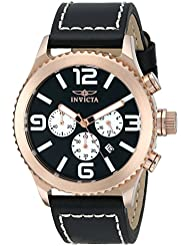 Invicta Mens 1429 II Collection 18k Rose Gold-Plated Stainless Steel and Black Leather Watch