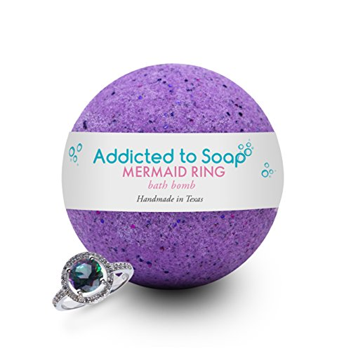 Addicted to Soap - Mermaid Ring Bath Bomb | Ultra Luxurious - Extra Large 9oz Bath Bomb STERLING SILVER RING Surprise Inside - Organic & Sensual Relaxation (Ring Size 7)
