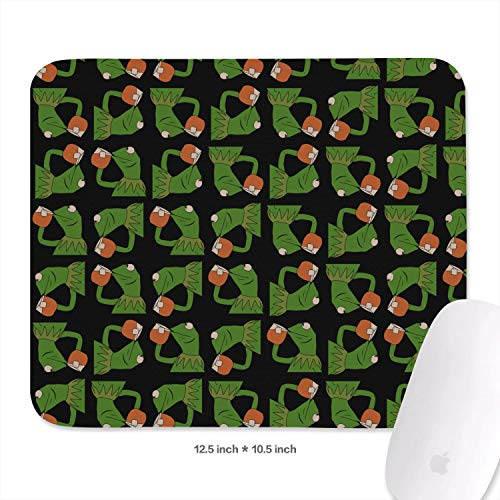 Womens Students 10.5inchs x 12.5inchs Funny-Green-Frog-Sipping-Tea-Wrist Rest with Black Anti Slip Rubber Base Premium-Textured 3mm Thick Cute Keyboard Mouse Pad Mat for PC -